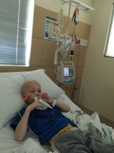 Kaden receiving a blood transfusion