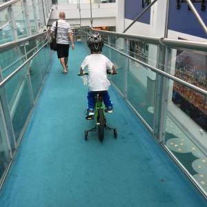 Following dad down the ramp